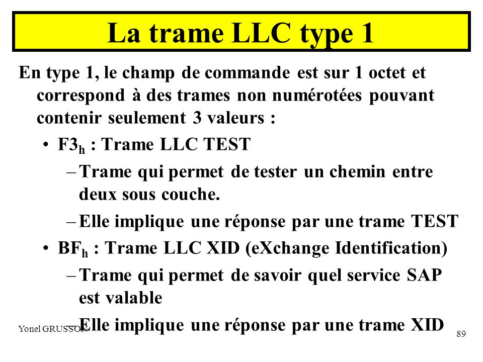 Yonel GRUSSON 89 En type 1, le champ de commande est sur 1 octet et correspond à des trames non numérotées pouvant contenir seulement 3 valeurs : F3 h : Trame LLC TEST –Trame qui permet de tester un chemin entre deux sous couche.