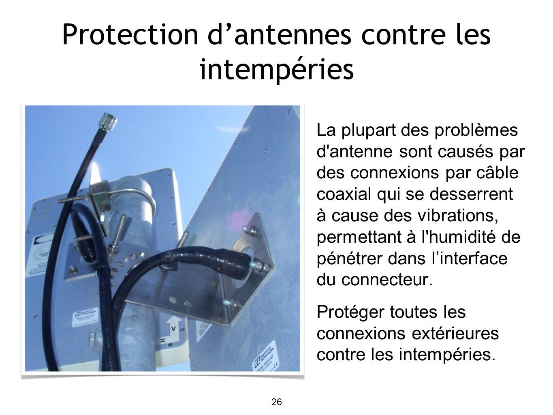 26 Protection dantennes contre les intempéries La plupart des problèmes d antenne sont causés par des connexions par câble coaxial qui se desserrent à cause des vibrations, permettant à l humidité de pénétrer dans linterface du connecteur.
