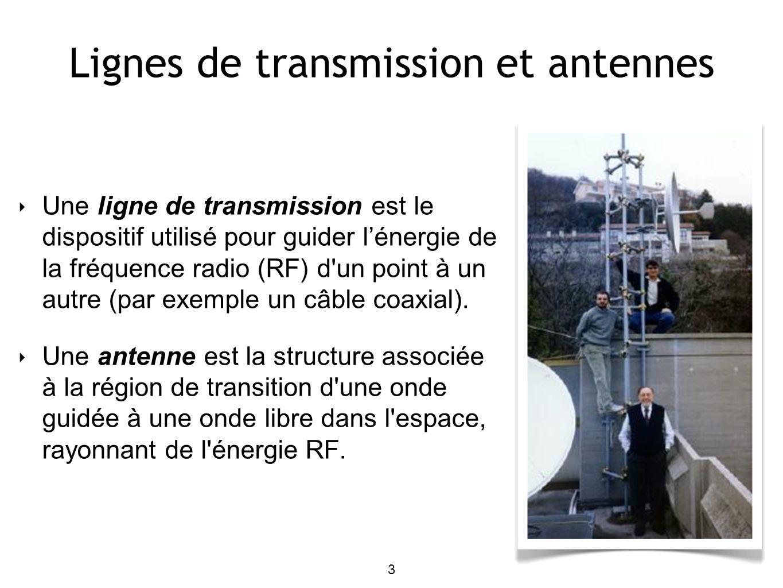 3 Lignes de transmission et antennes Une ligne de transmission est le dispositif utilisé pour guider lénergie de la fréquence radio (RF) d un point à un autre (par exemple un câble coaxial).