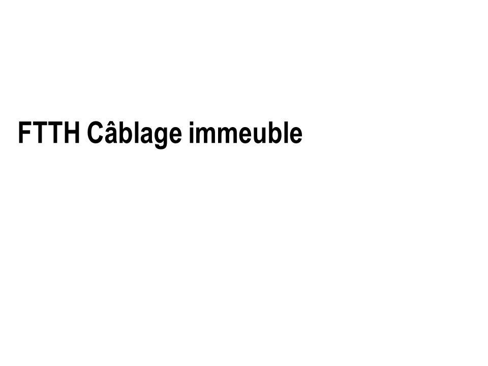 Raccordement au PRI ou PMI Localisation : En local ou espace opérateur mise en place des micro tubes dans chaque cassette (miroir de celle des boitier détages) mise en attente en zone de lovage des fibres verte et jaune (cas du 4fibres) PMI : raccordement des fibres bleues et rouges aux pigtails Mise en place en vis-à-vis dans les raccords pour test Remise en place du pigtail bleu en zone dattente PRI : raccordement par épissures,des fibres bleues et rouges de chaque logement pour test Mise en œuvre dune architecture RISER