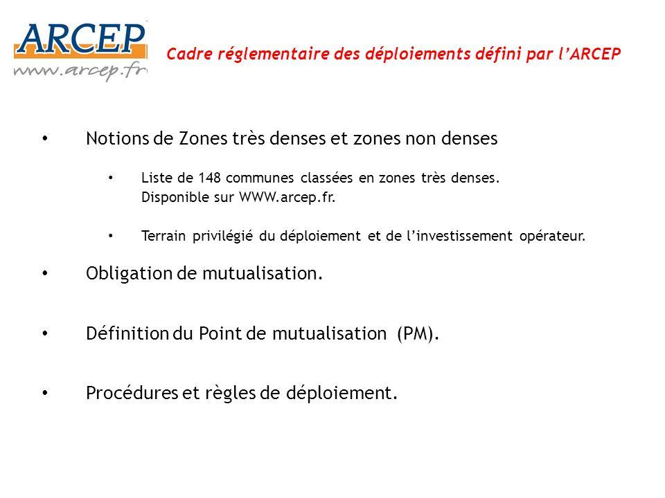 Obligation de mutualisation Toute personne établissant ou ayant établi dans un immeuble bâti ou exploitant une ligne de communications électroniques à très haut débit en fibre optique permettant de desservir un utilisateur final fait droit aux demandes d accès à ladite ligne émanant d autres opérateurs dans des conditions transparentes et non discriminatoires(article 109-III et décisions Arcep) Réglementation ARCEP : -en zones très denses (décembre 2009 – décision n°2009-1106) -hors de ces zones (14 décembre 2010 n 2010 -1312) Le principe de mutualisation a notamment pour objectif: – De lever les obstacles liés au câblage des immeubles : – De désigner un opérateur d immeuble, responsable de la partie mutualisée des réseaux : interlocuteur unique, limitation des nuisances.