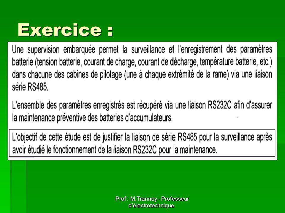 Prof : M.Trannoy - Professeur d électrotechnique. Exercice :