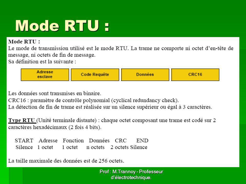 Prof : M.Trannoy - Professeur d électrotechnique. Mode RTU :