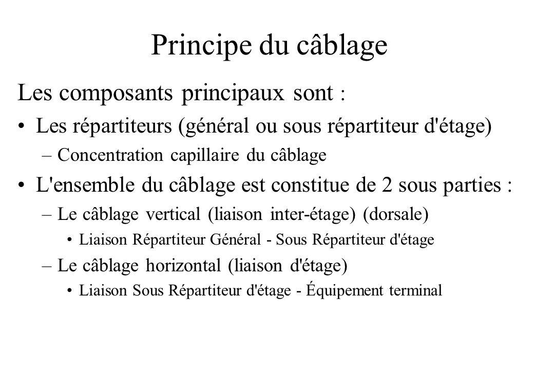 Principe du câblage Les composants principaux sont : Les répartiteurs (général ou sous répartiteur d étage) –Concentration capillaire du câblage L ensemble du câblage est constitue de 2 sous parties : –Le câblage vertical (liaison inter-étage) (dorsale) Liaison Répartiteur Général - Sous Répartiteur d étage –Le câblage horizontal (liaison d étage) Liaison Sous Répartiteur d étage - Équipement terminal