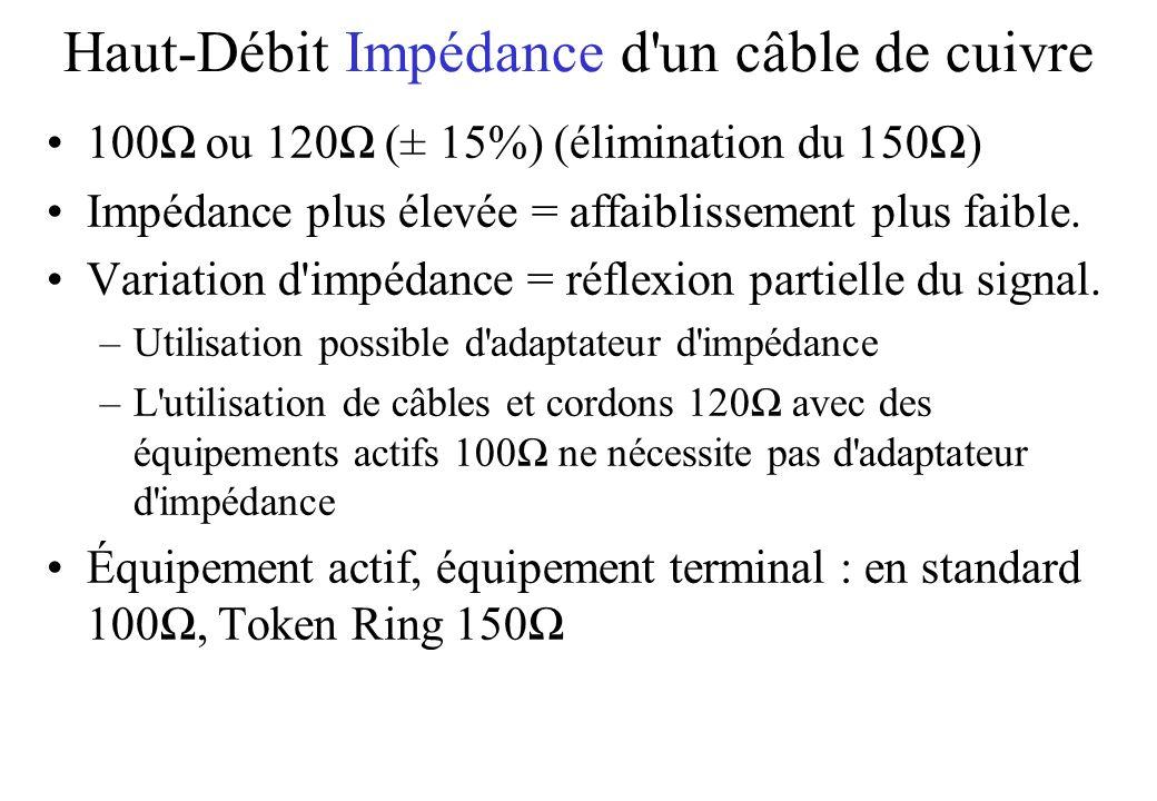 Haut-Débit Impédance d un câble de cuivre 100 ou 120 (± 15%) (élimination du 150) Impédance plus élevée = affaiblissement plus faible.