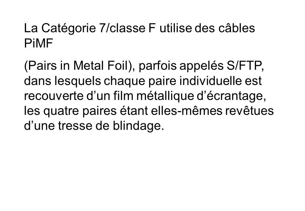 La Catégorie 7/classe F utilise des câbles PiMF (Pairs in Metal Foil), parfois appelés S/FTP, dans lesquels chaque paire individuelle est recouverte dun film métallique décrantage, les quatre paires étant elles-mêmes revêtues dune tresse de blindage.