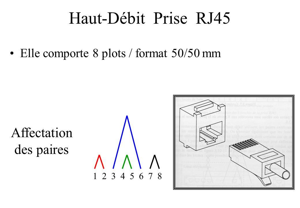 Haut-Débit Prise RJ45 Elle comporte 8 plots / format 50/50 mm Affectation des paires 1 2 3 4 5 6 7 8