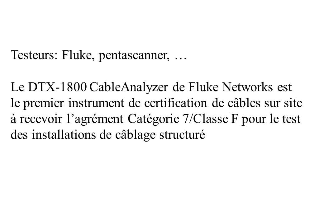 Testeurs: Fluke, pentascanner, … Le DTX-1800 CableAnalyzer de Fluke Networks est le premier instrument de certification de câbles sur site à recevoir lagrément Catégorie 7/Classe F pour le test des installations de câblage structuré