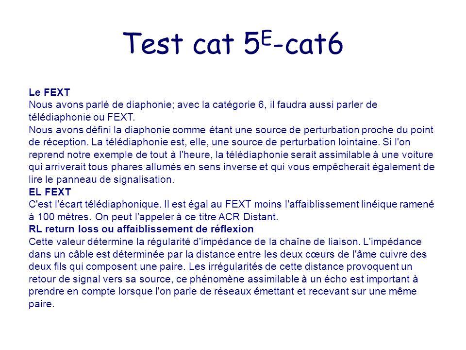 Test cat 5 E -cat6 Le FEXT Nous avons parlé de diaphonie; avec la catégorie 6, il faudra aussi parler de télédiaphonie ou FEXT. Nous avons défini la d