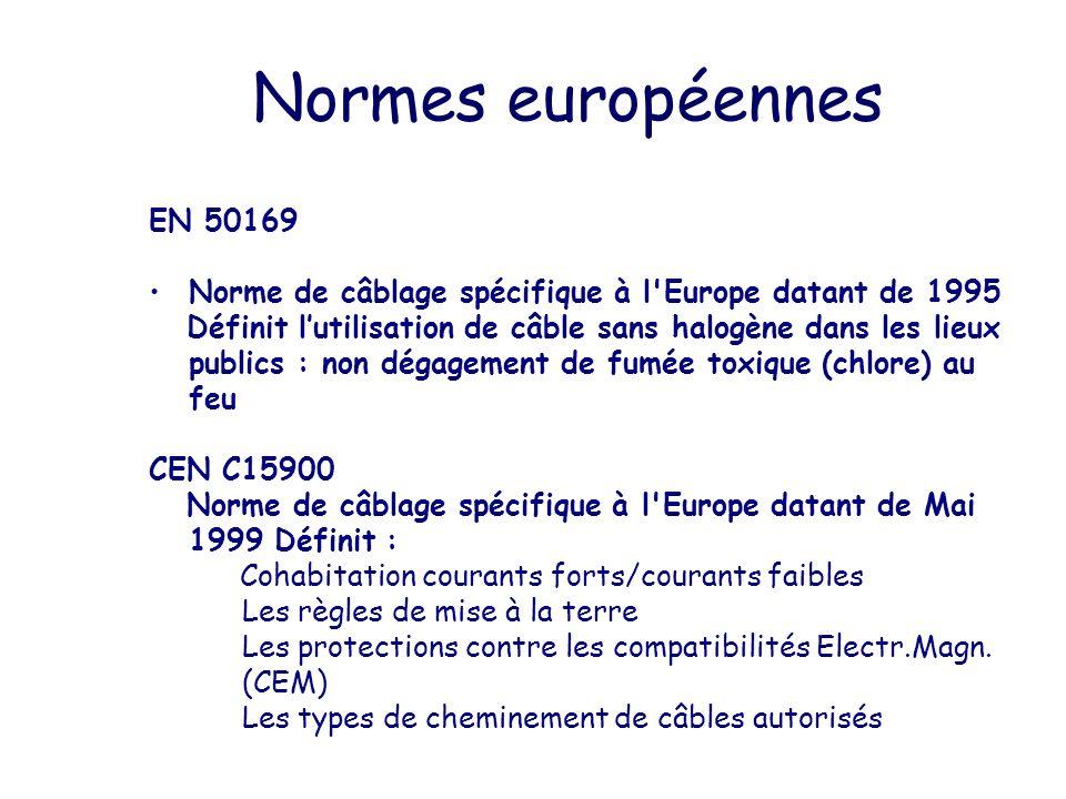 Normes européennes EN 50169 Norme de câblage spécifique à l'Europe datant de 1995 Définit lutilisation de câble sans halogène dans les lieux publics :