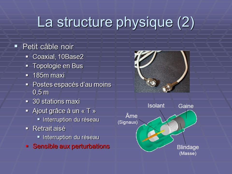 La structure physique (2) Petit câble noir Petit câble noir Coaxial, 10Base2 Coaxial, 10Base2 Topologie en Bus Topologie en Bus 185m maxi 185m maxi Po