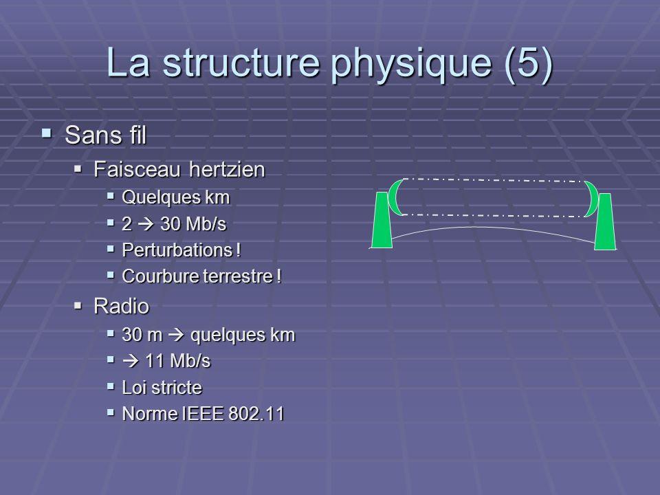 La structure physique (5) Sans fil Sans fil Faisceau hertzien Faisceau hertzien Quelques km Quelques km 2 30 Mb/s 2 30 Mb/s Perturbations ! Perturbati