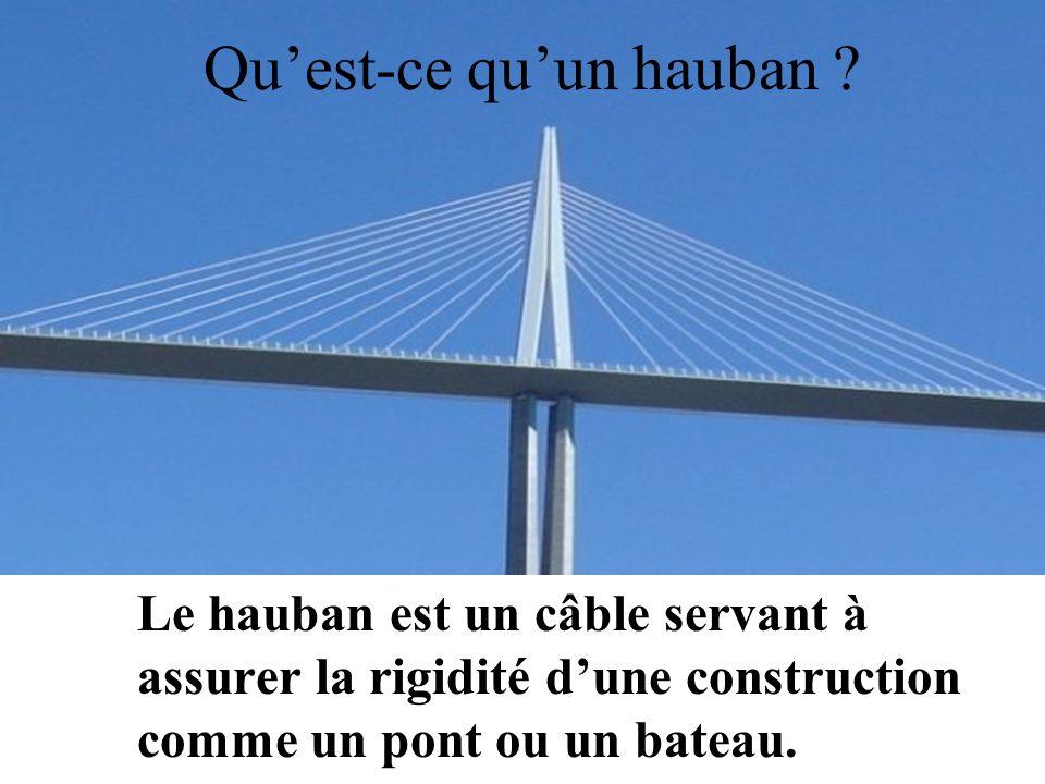 Quest-ce quun hauban ? Le hauban est un câble servant à assurer la rigidité dune construction comme un pont ou un bateau.
