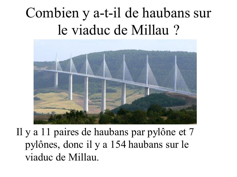 Combien y a-t-il de haubans sur le viaduc de Millau ? Il y a 11 paires de haubans par pylône et 7 pylônes, donc il y a 154 haubans sur le viaduc de Mi