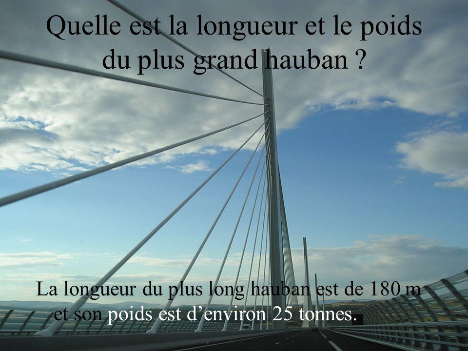 Quelle est la longueur et le poids du plus grand hauban ? La longueur du plus long hauban est de 180 m et son poids est denviron 25 tonnes.