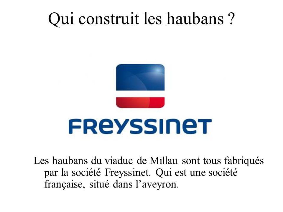 Qui construit les haubans ? Les haubans du viaduc de Millau sont tous fabriqués par la société Freyssinet. Qui est une société française, situé dans l