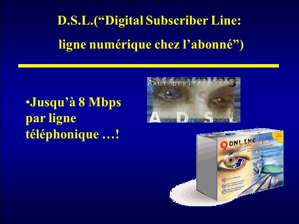 D.S.L.(Digital Subscriber Line: ligne numérique chez labonné) Jusquà 8 Mbps par ligne téléphonique …!