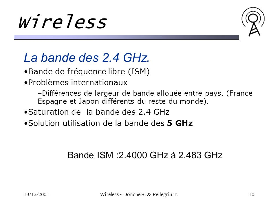 13/12/2001Wireless - Donche S. & Pellegrin T.10 Wireless La bande des 2.4 GHz. Bande de fréquence libre (ISM) Problèmes internationaux –Différences de