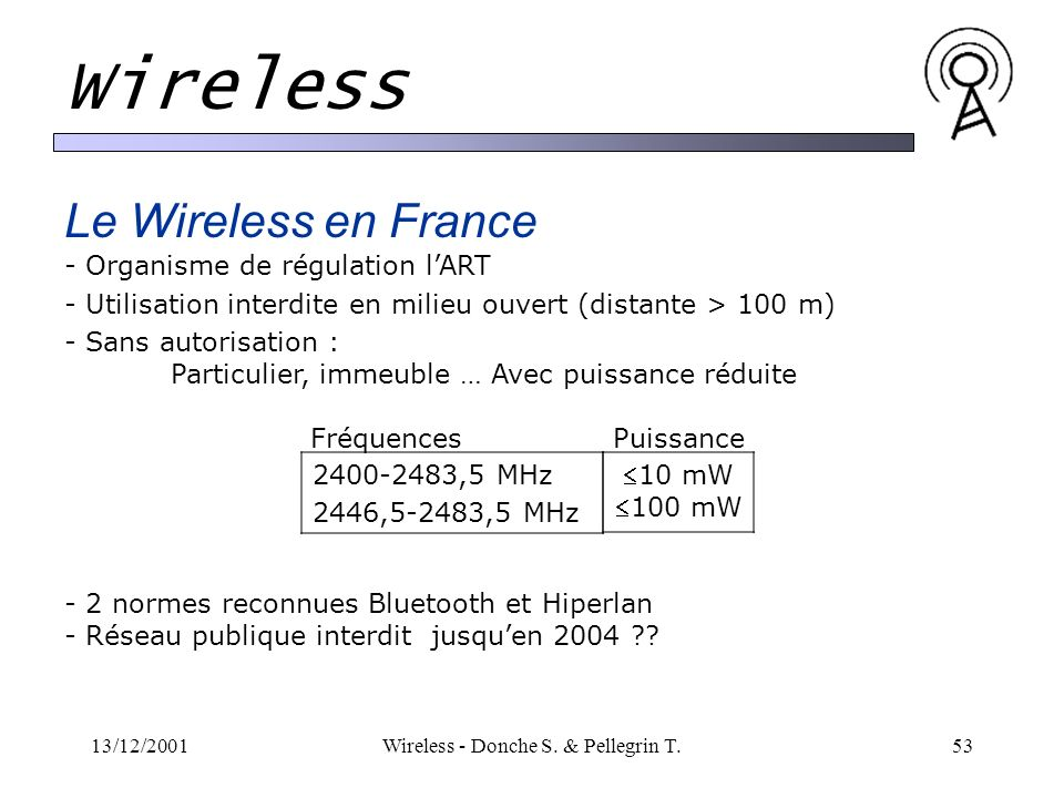 13/12/2001Wireless - Donche S. & Pellegrin T.53 Wireless Le Wireless en France - Organisme de régulation lART - Utilisation interdite en milieu ouvert