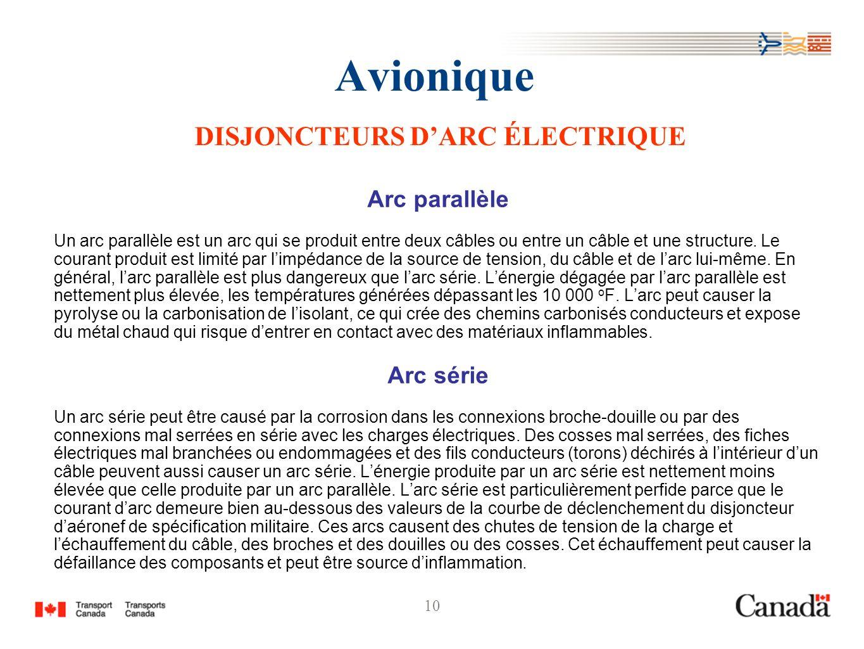10 Avionique DISJONCTEURS DARC ÉLECTRIQUE Arc parallèle Un arc parallèle est un arc qui se produit entre deux câbles ou entre un câble et une structur