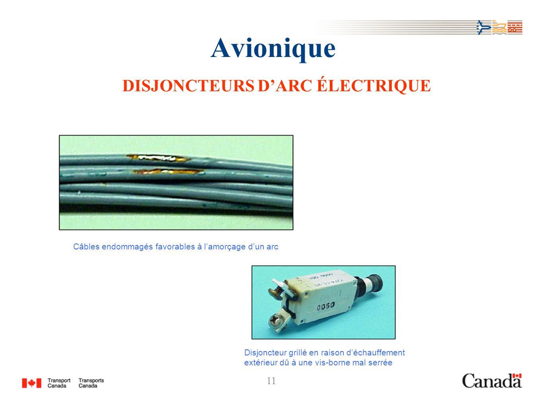 11 Avionique DISJONCTEURS DARC ÉLECTRIQUE Câbles endommagés favorables à lamorçage dun arc Disjoncteur grillé en raison déchauffement extérieur dû à u