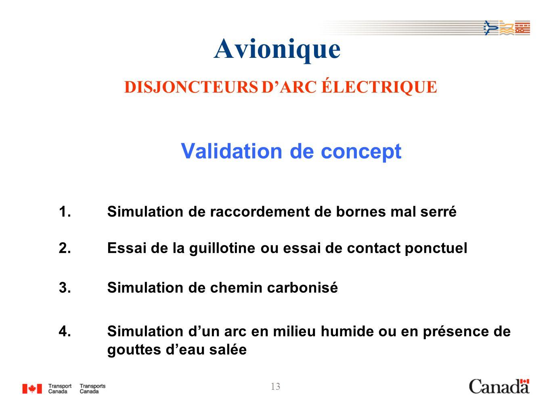 13 Avionique DISJONCTEURS DARC ÉLECTRIQUE Validation de concept 1.Simulation de raccordement de bornes mal serré 2.Essai de la guillotine ou essai de