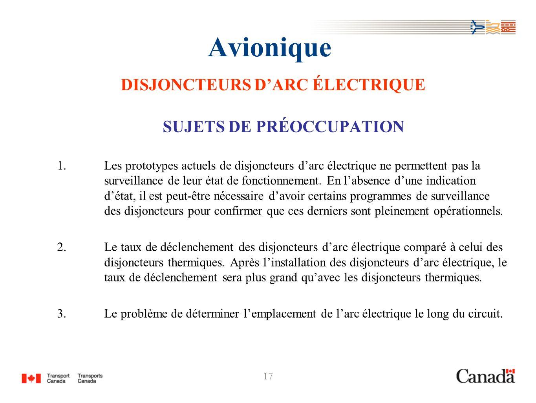 17 Avionique DISJONCTEURS DARC ÉLECTRIQUE SUJETS DE PRÉOCCUPATION 1.Les prototypes actuels de disjoncteurs darc électrique ne permettent pas la survei