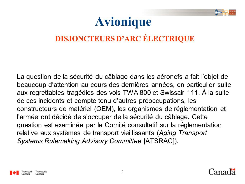 2 Avionique DISJONCTEURS DARC ÉLECTRIQUE La question de la sécurité du câblage dans les aéronefs a fait lobjet de beaucoup dattention au cours des der