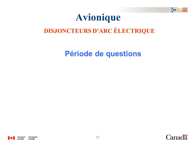 20 Avionique DISJONCTEURS DARC ÉLECTRIQUE Période de questions