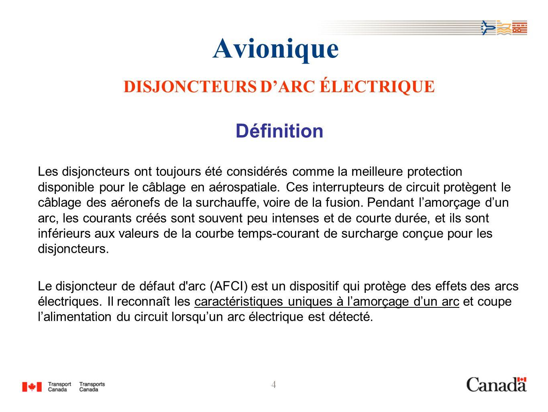 4 Avionique DISJONCTEURS DARC ÉLECTRIQUE Définition Les disjoncteurs ont toujours été considérés comme la meilleure protection disponible pour le câbl