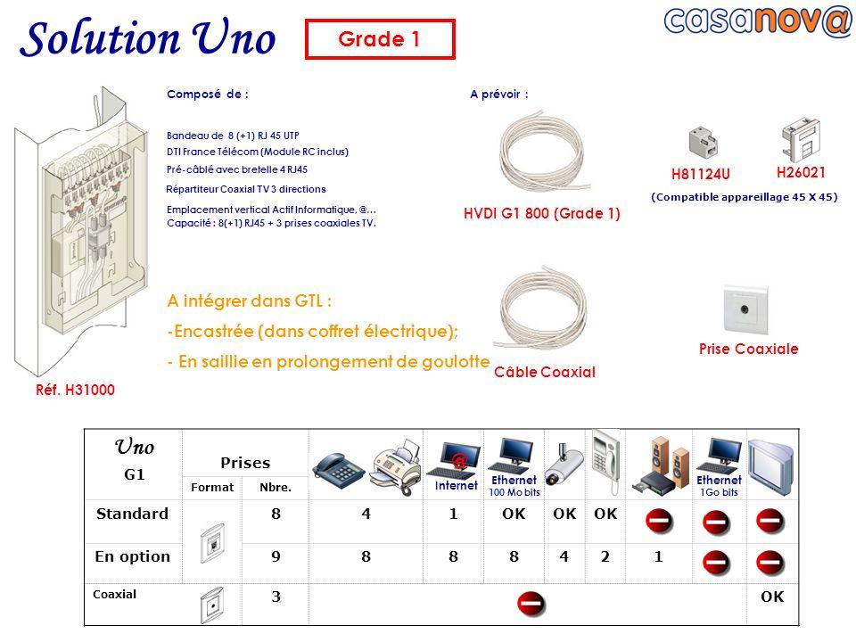 Solution Uno HVDI G1 800 (Grade 1) Réf. H31000 H81124U Câble Coaxial Prise Coaxiale Bandeau de 8 (+1) RJ 45 UTP DTI France Télécom (Module RC inclus)