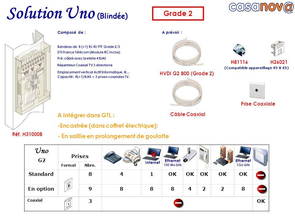 HVDI G2 800 (Grade 2) Réf. H31000B Câble Coaxial Prise Coaxiale Bandeau de 8 (+1) RJ 45 FTP Grade 2/3 DTI France Télécom (Module RC inclus) Pré-câblé