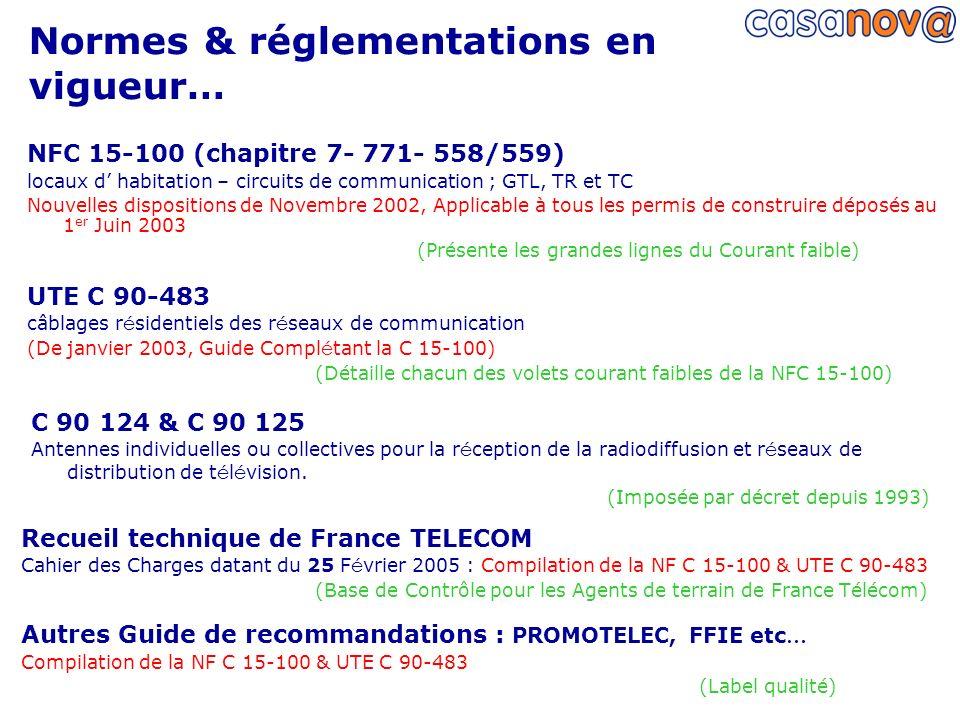 Normes & réglementations en vigueur… C 90 124 & C 90 125 Antennes individuelles ou collectives pour la r é ception de la radiodiffusion et r é seaux d