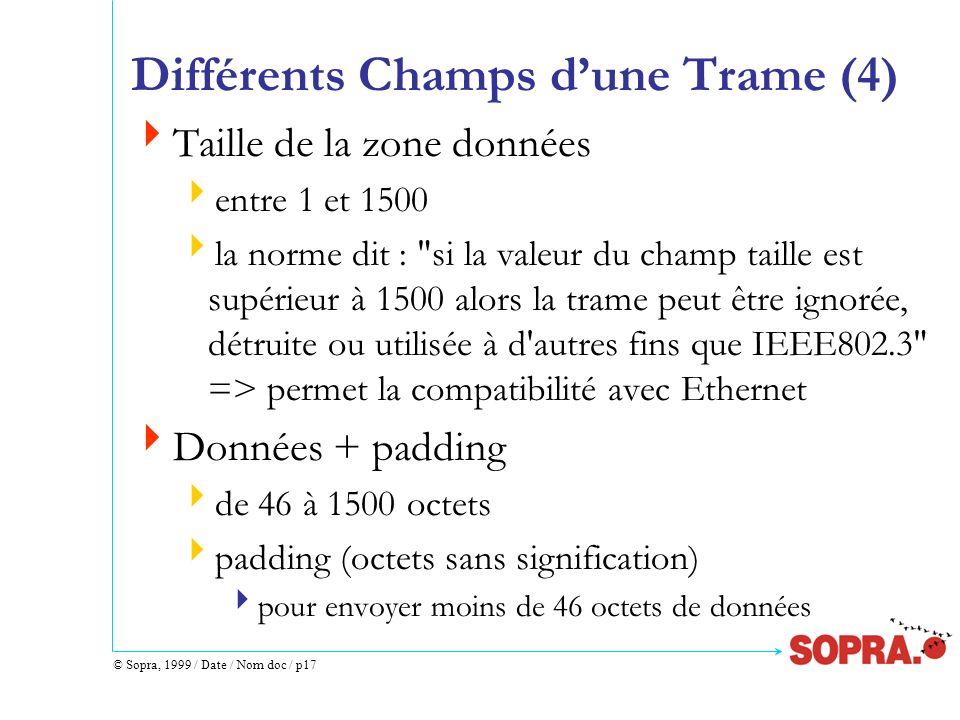 © Sopra, 1999 / Date / Nom doc / p17 Différents Champs dune Trame (4) Taille de la zone données entre 1 et 1500 la norme dit :