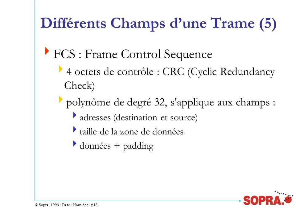 © Sopra, 1999 / Date / Nom doc / p18 Différents Champs dune Trame (5) FCS : Frame Control Sequence 4 octets de contrôle : CRC (Cyclic Redundancy Check