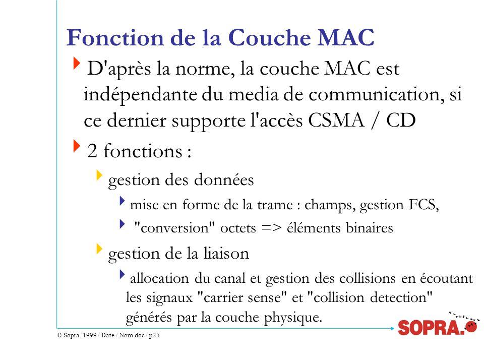 © Sopra, 1999 / Date / Nom doc / p25 Fonction de la Couche MAC D'après la norme, la couche MAC est indépendante du media de communication, si ce derni