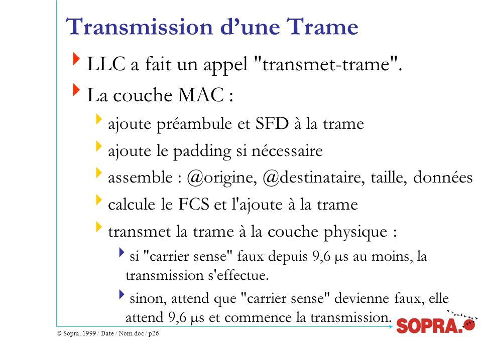 © Sopra, 1999 / Date / Nom doc / p26 Transmission dune Trame LLC a fait un appel