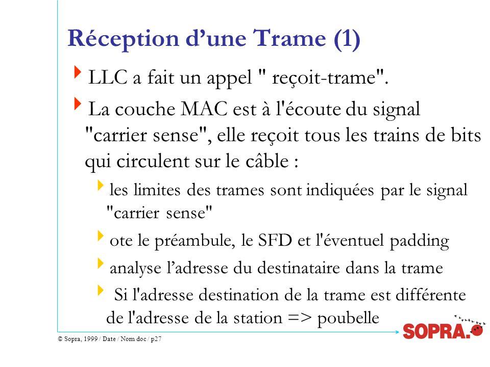 © Sopra, 1999 / Date / Nom doc / p27 Réception dune Trame (1) LLC a fait un appel
