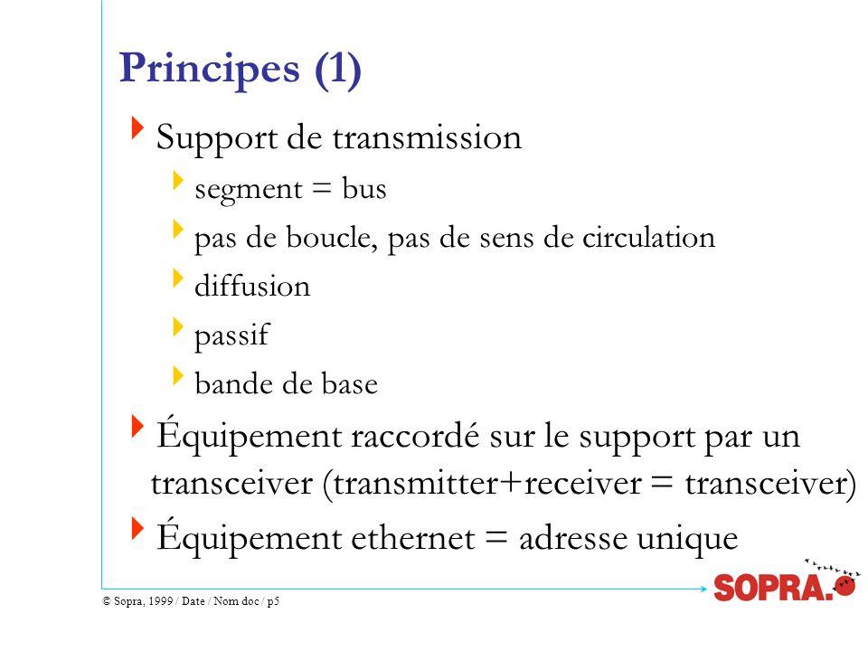© Sopra, 1999 / Date / Nom doc / p5 Principes (1) Support de transmission segment = bus pas de boucle, pas de sens de circulation diffusion passif ban