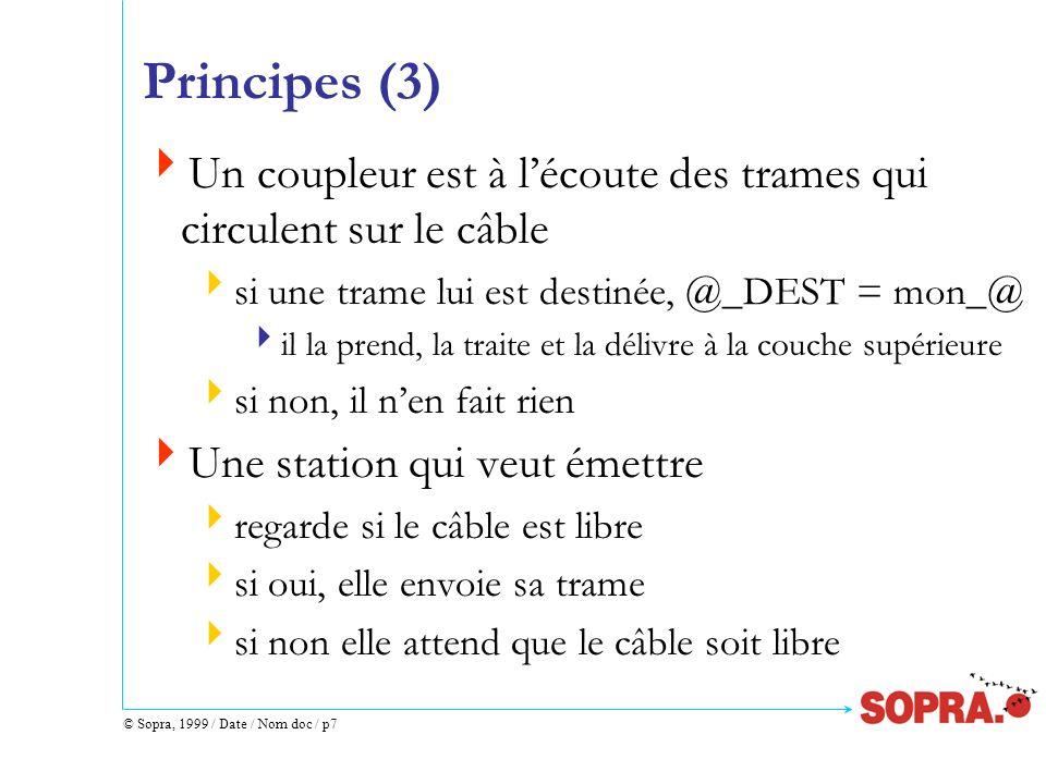 © Sopra, 1999 / Date / Nom doc / p8 Principes (4) Si 2 stations émettent ensemble, il y a collision les 2 trames sont inexploitables les 2 stations détectent la collision, elles réémettront leur trame ultérieurement Ethernet est un réseau probabiliste (remise au mieux) égalitaire sans chef dorchestre