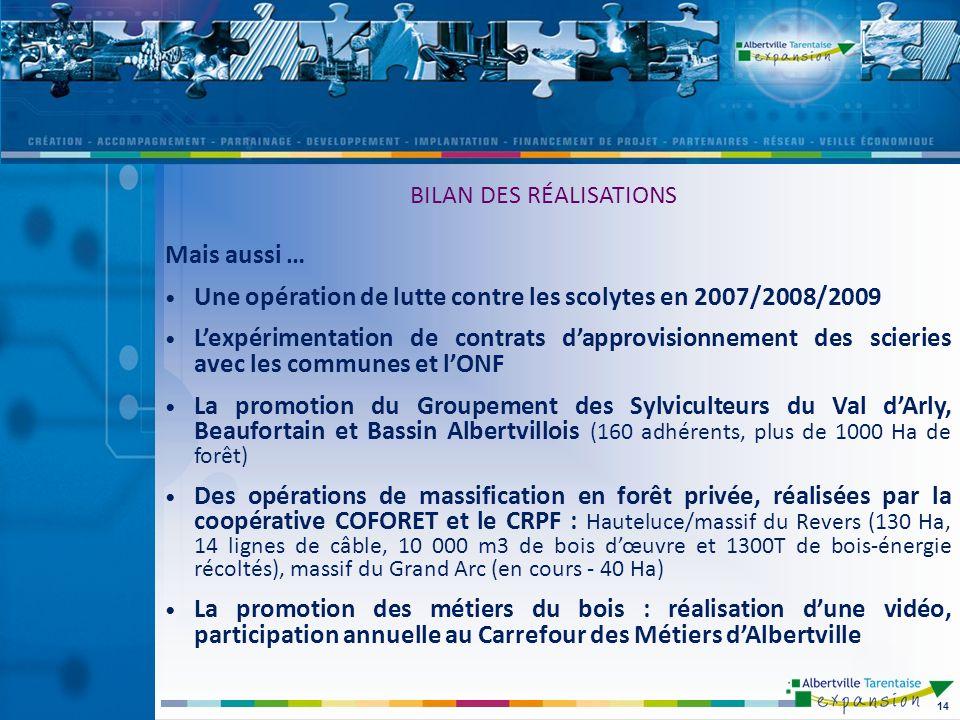 Mais aussi … Une opération de lutte contre les scolytes en 2007/2008/2009 Lexpérimentation de contrats dapprovisionnement des scieries avec les commun