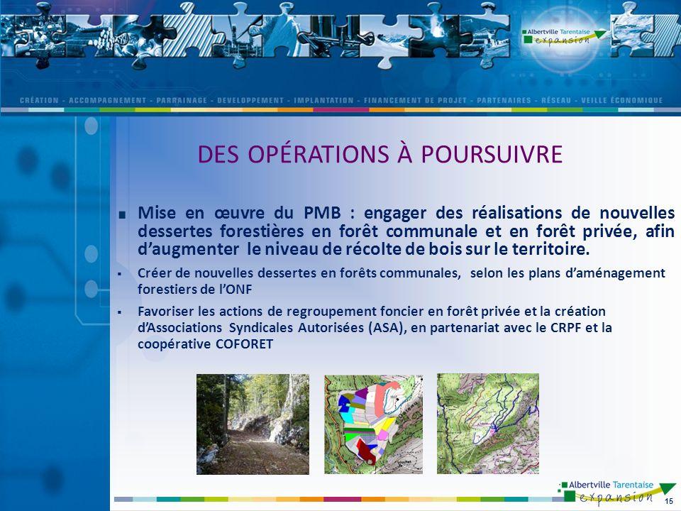 Mise en œuvre du PMB : engager des réalisations de nouvelles dessertes forestières en forêt communale et en forêt privée, afin daugmenter le niveau de récolte de bois sur le territoire.
