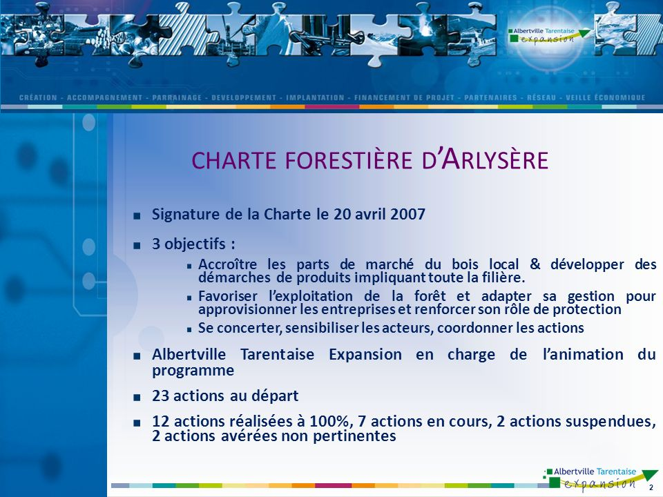 Signature de la Charte le 20 avril 2007 3 objectifs : Accroître les parts de marché du bois local & développer des démarches de produits impliquant toute la filière.