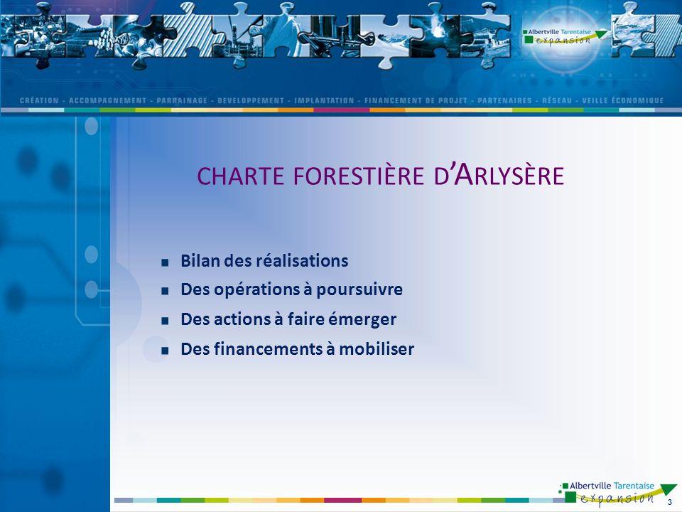 Bilan des réalisations Des opérations à poursuivre Des actions à faire émerger Des financements à mobiliser 3 CHARTE FORESTIÈRE D A RLYSÈRE