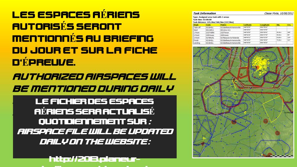 LES ESPACES AÉRIENS AUTORISÉS SERONT MENTIONNÉS AU BRIEFING DU JOUR ET SUR LA FICHE DÉPREUVE. AUTHORIZED AIRSPACES WILL BE MENTIONED DURING DAILY BRIE