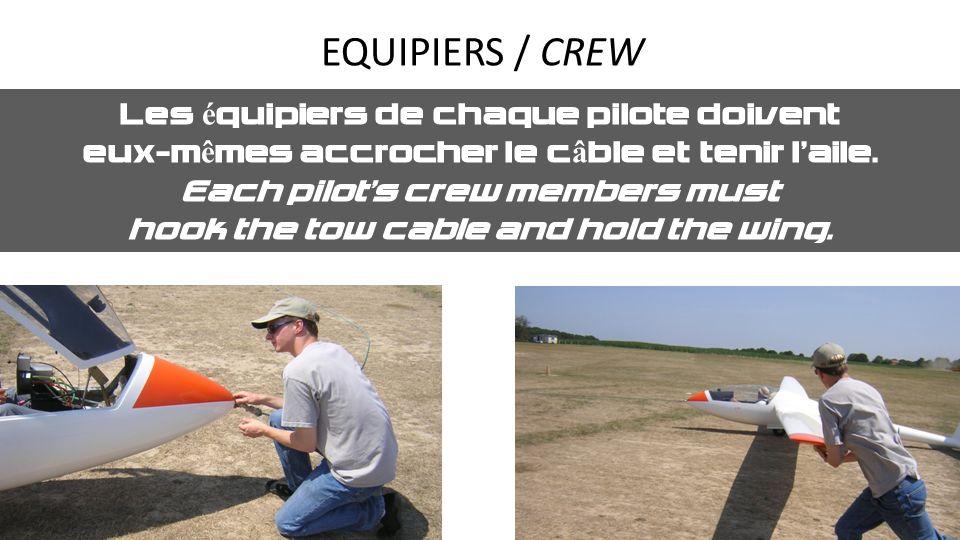 EQUIPIERS / CREW Les équipiers de chaque pilote doivent eux-mêmes accrocher le câble et tenir laile. Each pilots crew members must hook the tow cable