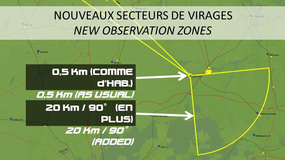 NOUVEAUX SECTEURS DE VIRAGES NEW OBSERVATION ZONES O,5 Km (COMME dHAB.) 0,5 Km (AS USUAL) 20 Km / 90° (EN PLUS) 20 Km / 90° (ADDED)