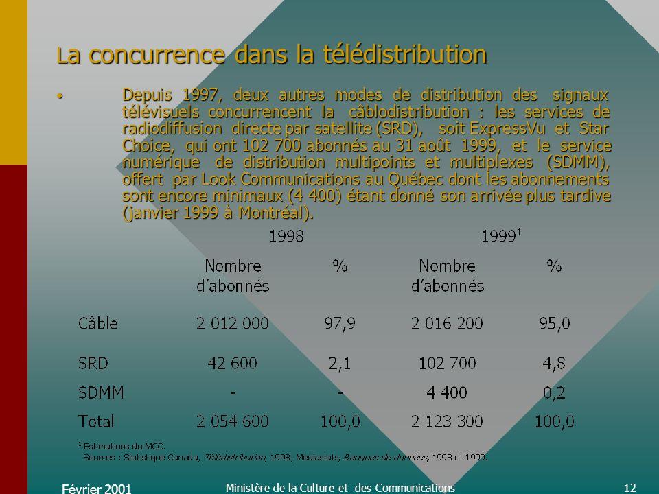 Février 2001 Ministère de la Culture et des Communications12 L a concurrence dans la télédistribution Depuis 1997, deux autres modes de distribution des signaux télévisuels concurrencent la câblodistribution : les services de radiodiffusion directe par satellite (SRD), soit ExpressVu et Star Choice, qui ont 102 700 abonnés au 31 août 1999, et le service numérique de distribution multipoints et multiplexes (SDMM), offert par Look Communications au Québec dont les abonnements sont encore minimaux (4 400) étant donné son arrivée plus tardive (janvier 1999 à Montréal).