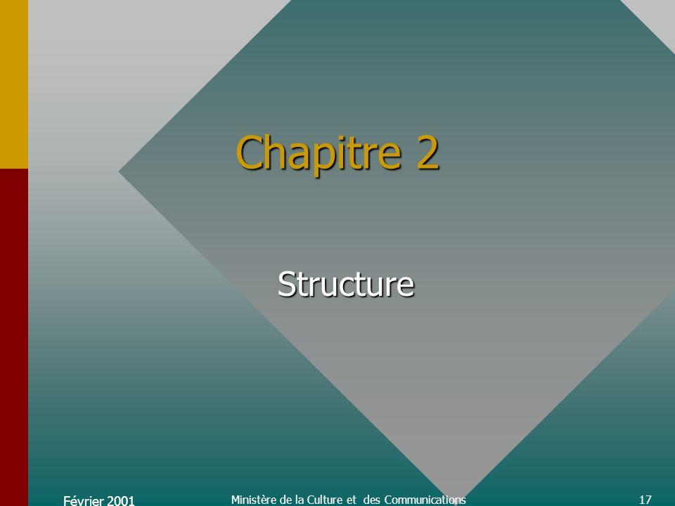 Février 2001 Ministère de la Culture et des Communications17 Chapitre 2 Structure