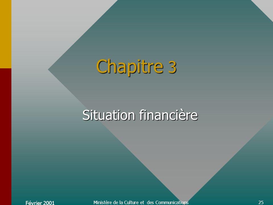 Février 2001 Ministère de la Culture et des Communications25 Chapitre 3 Situation financière